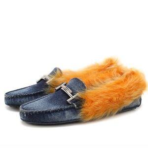 NIB Tod's Double T Denim w Faux Fur Driving Shoes